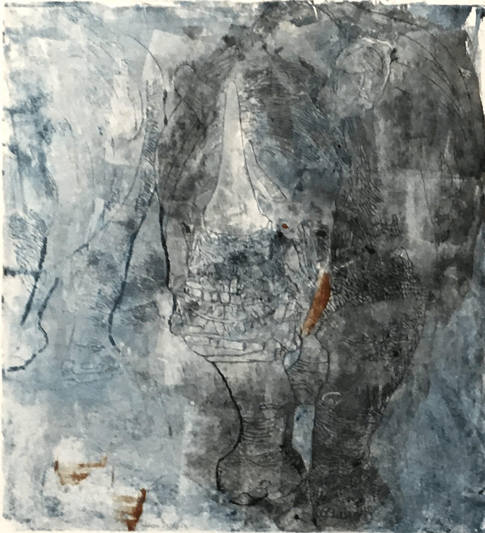 Blue rhinocerus I, 50×70 cm