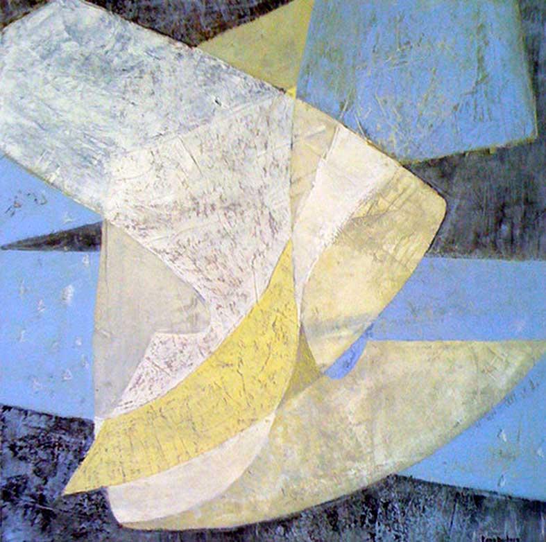 Schablon c4 50×50 cm akryl-blandteknik på papper