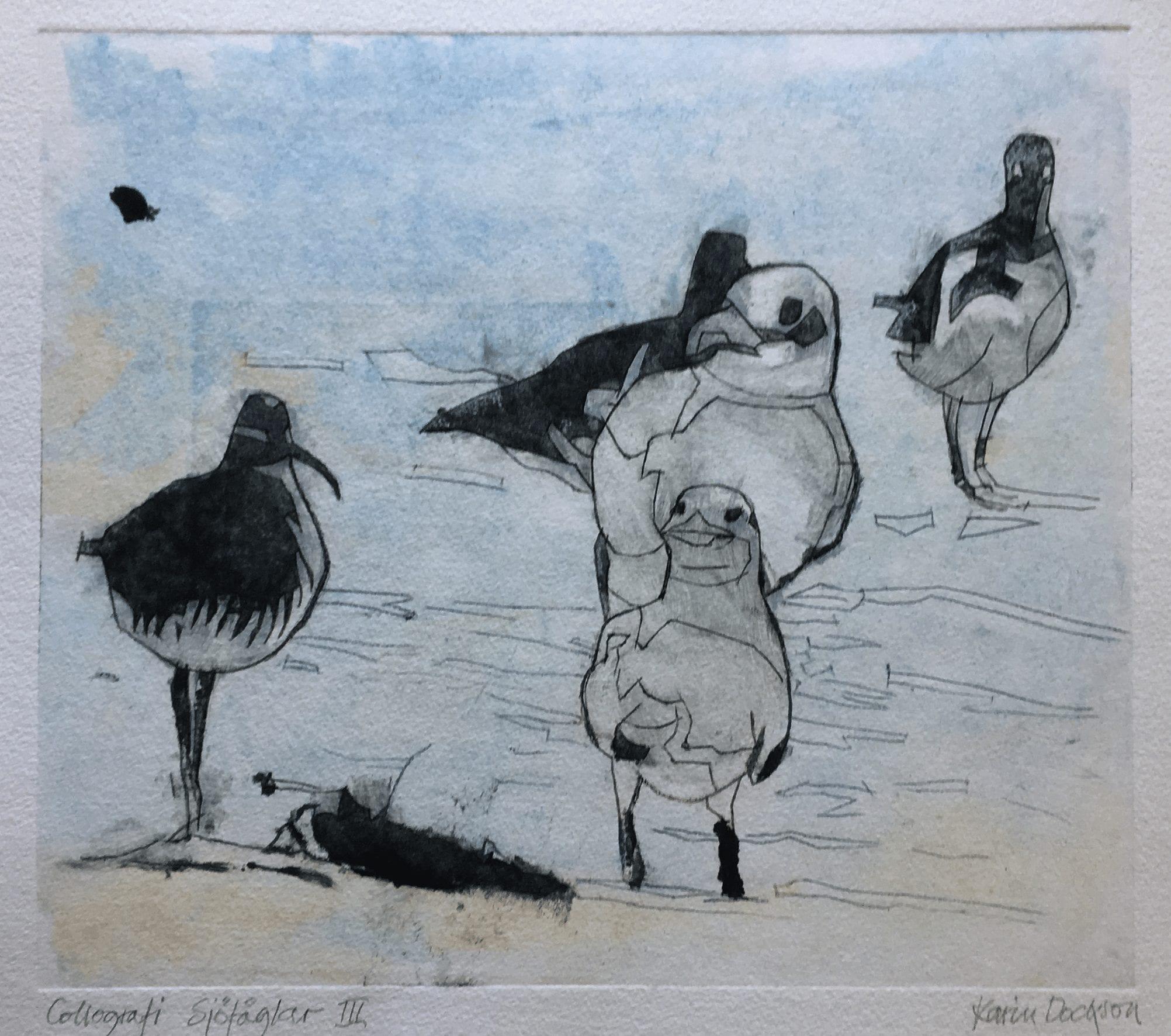 Sjöfåglar III, 30×26 cm