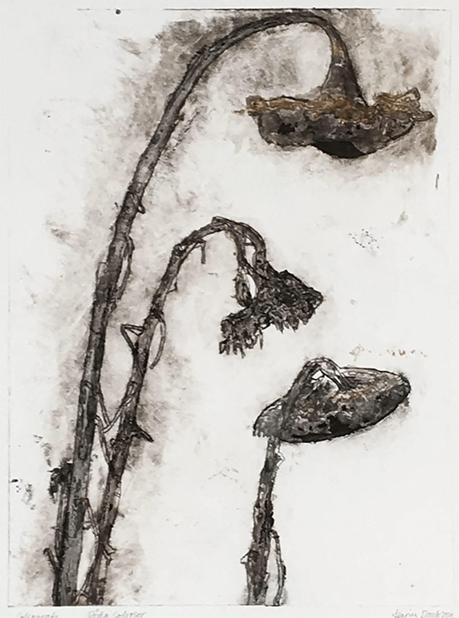 Tre solrosor, 35×50 cm