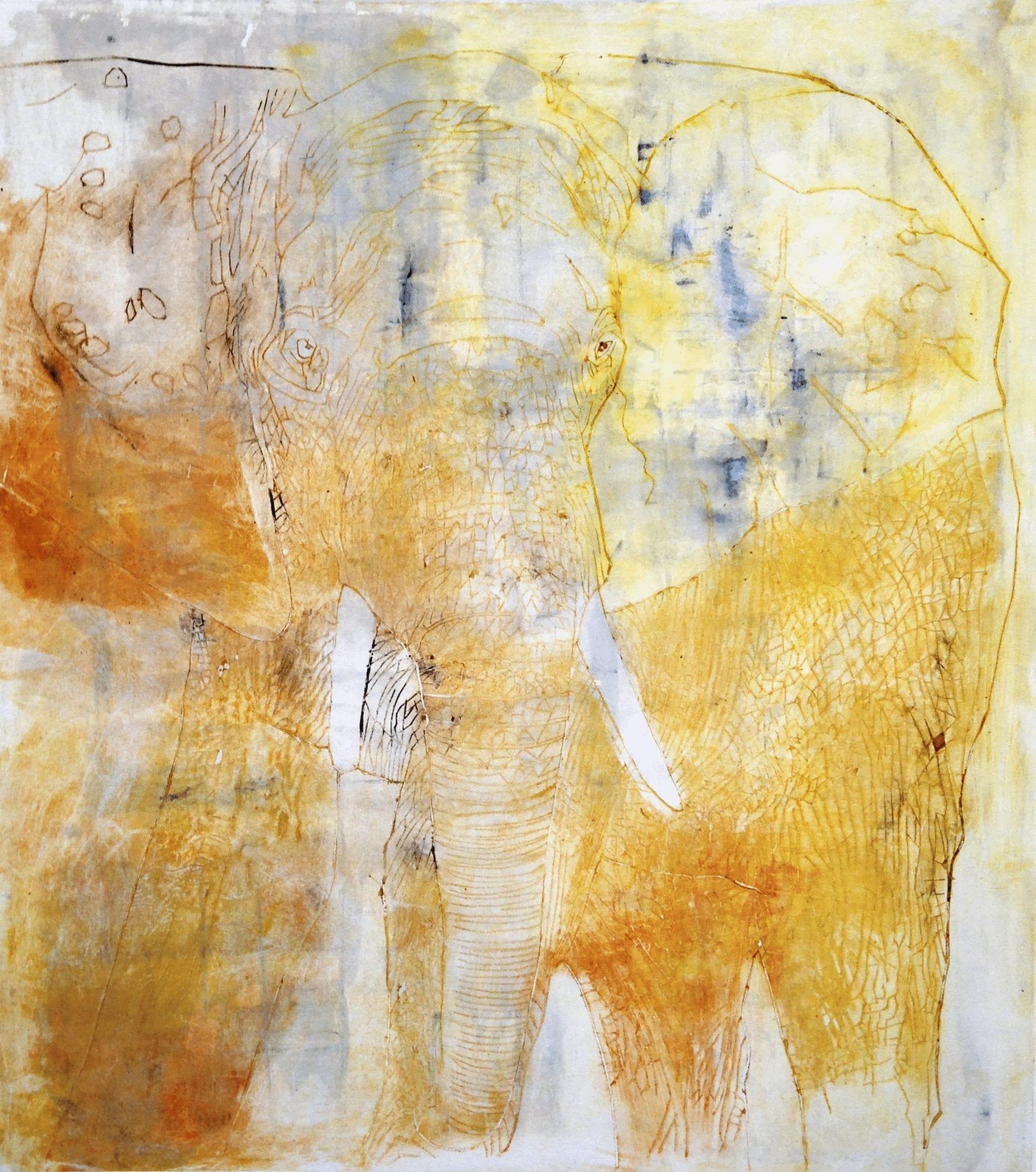 Yellow elephant II, 50×70 cm